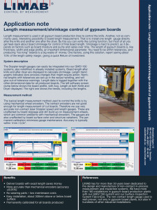 Application Note Length measurement shrinkage control of gypsum boards